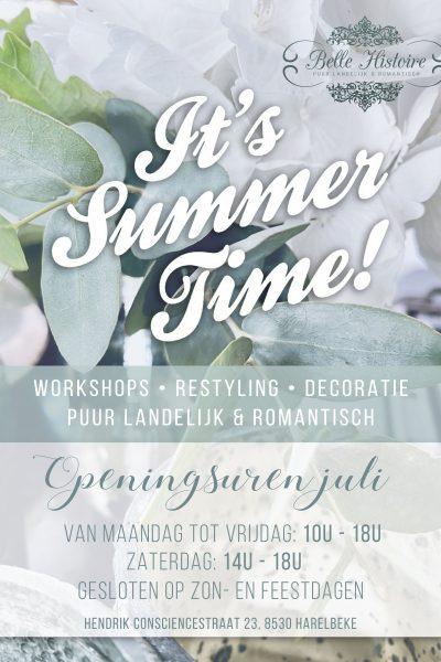 Summertime! Openingsuren juli